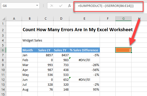 formula friday how to count formula errors on an excel worksheet how to excel at excel. Black Bedroom Furniture Sets. Home Design Ideas