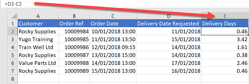 date difference DATEDIF in excel formula