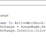 Excel vba macro Highlight Named Ranges