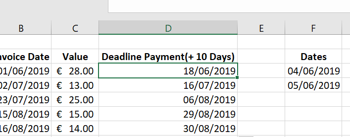 Add working days to a deadline date with holidays.  WORKDAY function