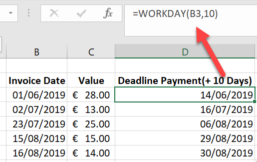Add working days to a deadline date without  holidays.  Workday function